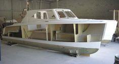 Deck on hulll Model Ship Building, Boat Building Plans, Yacht Design, Boat Design, Yatch Boat, Hull Boat, Shanty Boat, Power Catamaran, Cruiser Boat