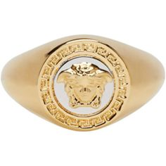 Versace Gold Medusa Ring ($285) ❤ liked on Polyvore featuring men's fashion, men's jewelry, men's rings, gold, mens engraved rings, versace mens ring, mens gold rings, mens yellow gold rings and mens gold signet rings
