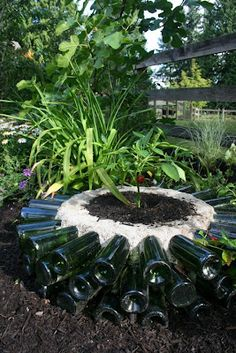 How to build a hot bed out of recycled glass bottles. How to build a hot bed out of recycled glass bottles DIY - Grow plants normally not in your zone. Diy Garden, Dream Garden, Garden Beds, Garden Projects, Garden Art, Garden Design, Garden Crafts, Terrace Garden, Old Wine Bottles