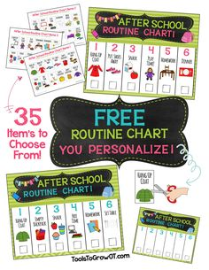 After School Routine Charts - visual reminders pictures designed to increase your child's independence for completing sequenced tasks and keeping belongings where they belong.