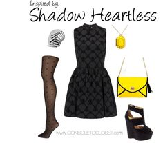 Shadow Heartess (Kingdom Hearts) by ladysnip3r       Topshop - High Neck Flocked Skater Dress ($56)/ Dorothy Perkins - Black Diamond Heart Tights ($12)/ Asos - River Island Eager Black Strappy Platform Wedges ($86)/ Yesstyle - Life 8 Leather Bag ($70)/ Piperlime - Kate Spade New York Jewel Bar Locket ($60)/ Dorothy Perkins - Layered Silver Tone Ring ($14)      This outfit is inspired by the Shadow Heartless from Kingdom Hearts. Since they're primarily black, I wanted to use different…