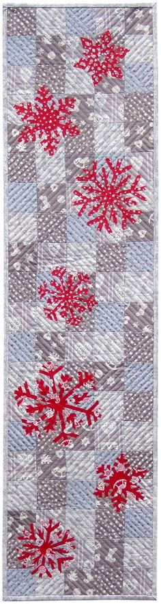 Quilt Inspiration: Free pattern day: Christmas 2015 (part Scandi table runners, 12 x by Hilary Gooding at Andover Fabrics; Patchwork Patterns, Quilt Patterns Free, Free Pattern, Quilting Projects, Quilting Designs, Quilting Ideas, Snowflake Quilt, Snowflakes, Snowflake Pattern