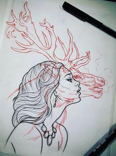 Tattoo designs for girls, portrait illustration, arte anime, traditional ar Kunst Inspo, Art Inspo, Art Sketches, Art Drawings, Tattoo Sketches, Tattoo Drawings, Kunst Tattoos, Poses References, Tattoo Designs For Girls