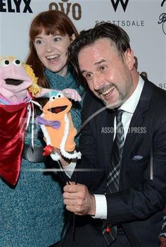 Stacey Gordon & David Arquette with Puppet Pie Puppets --inVision Tonya Wise/Invision/AP a ENT AZ USA INVW 2015 Boosty Bellows Arizona Takeover