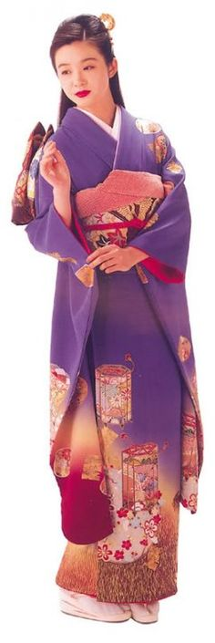 Beautiful Japanese kimono with flying candle baloons