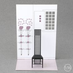 1:16 mini museum / paper models of chair and interior, which you assemble from flat-pack post card size.   This is model 004 Hill House 1 chair - designed by Charles Rennie Mackintosh doe his clients' house near Glasgow in 1904.