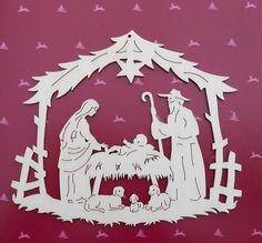 Fabulous Large German Christmas Wooden Window decoration NATIVITY laser cut