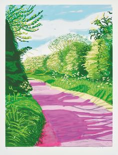 David Hockney The Arrival of Spring in Woldgate East Yorkshire in 2011 twenty eleven - 31 May No 2 2011 from The Arrival of Spring in 2011 twenty eleven 2011 Artsy Art And Illustration, Landscape Illustration, Landscape Art, Landscape Paintings, Illustrations, Spring Landscape, Landscape Photos, David Hockney Landscapes, David Hockney Paintings