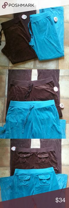 NWT Bundle of Velour Pants Perfect for the upcoming cooler months. Comfortable wide band elastic, drawstring closure and back pockets.  Colors ~ java (chocolate brown)and pgoda blue ( turquoise) Waist (laid flat) ~ 17 1/2 inches Inseam ~ 32 inches Bundle and save 15% Thanks for looking! Sonoma (So) Pants Straight Leg