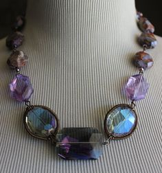 Chunky short boho purple amber crystal agate choker COUPON CODE