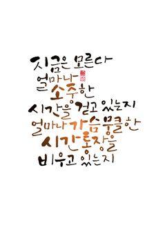 calligraphy_지금은 모른다 얼마나 소중한 시간을 걷고 있는지 얼마나 가슴뭉클한 시간통장을 비우고 있는지