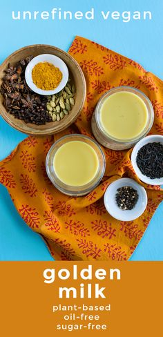 """Warm yourself inside and out with this #healthy cold-weather #beverage. Unrefined Vegan's """"slightly different"""" Golden Milk is as beautiful as it is delicious. Each cup is a blend of #spices, non-dairy milk, and just a touch of #stevia to bring out the flavors. #vegan #sugarfree #oilfree #turmeric #spices #cinnamon #cardamom #clove #ginger #nutmilk #easy #quick #hotdrink #plantbased #comfortfood #unrefinedvegan Healthy Recipes For Weight Loss, Easy Healthy Recipes, Raw Food Recipes, Milk Plant, Plant Based Breakfast, Vegan Comfort Food, Golden Milk, World Recipes, Vegan Dishes"""