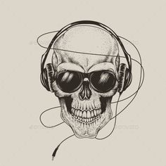 Skull in Headphones Listen a Music by krasavec skull in headphones and sunglasses.Prints design for t-shirts or tattoo
