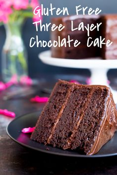Gluten Free Three Layer Chocolate Cake!  This chocolate cake is so good that no one will be able to tell that it is gluten free!  It will be a big hit at any party you make it for! @SheLikesFood