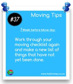 #MovingTips: Time to re-look that #MovingChecklist and create a new one with things that still needs to be done.