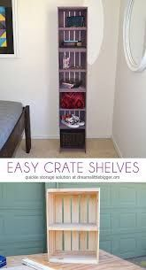 Easy Crate Shelves Easily build shelves out of crates! These crate shelves are functional and super pretty! Wood Crate Shelves, Dvd Shelves, Crate Bookshelf, Wood Crates, Built In Shelves, Build Shelves, Easy Shelves, Bookcase, Do It Yourself Furniture