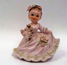 Vtg Ucagco Ceramic Pink Fan Bud Vase Gold Trim Girl Figure Figurine Japan