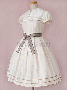 Blanc à manches court sangles Robes Lolita collier hérissé
