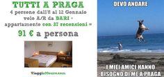 4 PERSONE A #PRAGA, volo A/R da #Bari + soggiorno dall'8 al 12 Gennaio in appartamento: 91 € a persona!