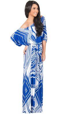 81f3e4e32706b KOH KOH Plus Size Women Long One Off Shoulder 34 Short Sleeve Sexy Summer  Sun Boho Chevron Print Jersey Cute Casual Gown Gowns Maxi Dress Dresses  Royal Blue ...