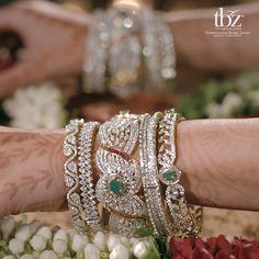 Diamond bangles by TBZ Bridal Bangles, Gold Bangles, Wedding Jewelry, Hand Jewelry, India Jewelry, Jewelry King, Jewelry Stand, Jewelry Accessories, Jewelry Design