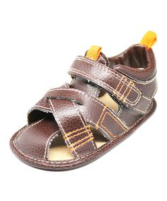 Look at this Stepping Stones Brown Closed Toe Sandal on #zulily today!
