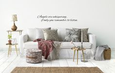 Designing wall stickers inspired by angels. Will be soon in my web shop - first only in Finland. Whisper, Finland, Wall Stickers, The Help, Angels, Throw Pillows, Inspired, Shop, Inspiration