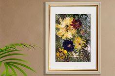 """Paveikslas """"Gėlių Fantazija"""" iš štampuoto gėlės-namų dekoro džiovintos gėlės spaustų gėlių spaustų gėlių rėmo gėlių ART-botaninis meno gamta"""