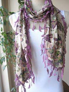 spring scarf with fringe