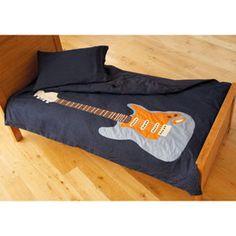 Vintage american duvet cover retro route 66 cream brown for Guitar bedding for boys