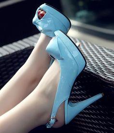 Buckle Design Bowknot High Heels Pumps Blue