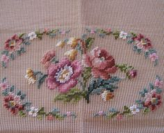 Vintage pre-worked needlepoint. Floral by LegacyTextileCrafts