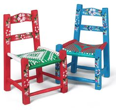 These small folk art chairs are hand painted in the Mexican Tipico style…