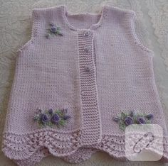 Baby vest models 2018 Let's see what's happening. combed rope wide braid … – fatma öztürk – Join the world of pin Baby Knitting Patterns, Knitting For Kids, Knitting Designs, Baby Patterns, Hand Knitting, Baby Cardigan, Toddler Dress, Baby Dress, Baby Blanket Crochet
