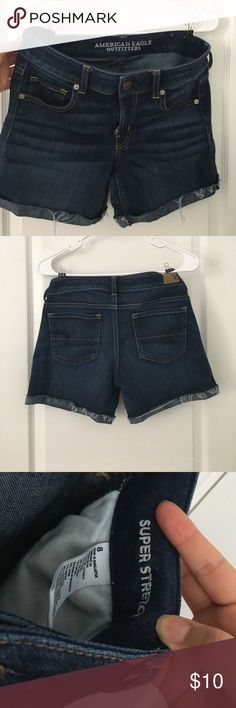 """Frayed Denim Shorts Comfy """"super stretchy"""" American Eagle shorts are great and not damaged! American Eagle Outfitters Shorts Jean Shorts"""