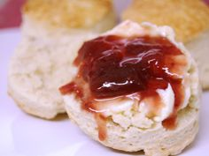 Scones are a simple and delicious English teatime treat. This classic version tastes great on its own or with clotted cream and jam. British Scones, Clotted Cream, Tray Bakes, Pain, Sour Cream, Tea Time, Creme, Cheesecake, Treats