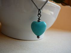 Turquoise gemstone heart pendant necklace on by CreationsChantal