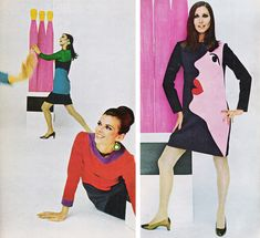 YSL pop art 1960s face dress shift pink red black models magazine designer couture unique