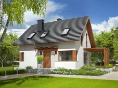 Projekt domu AC Lea (wersja B) CE - DOM - gotowy koszt budowy Home Fashion, My House, Cabin, House Styles, Home Decor, House Decorations, Homemade Home Decor, Cabins, Cottage