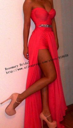 The Most Popular Prom Dresses Sexy Sweetheart Neckline Rhinestones High Slit Floor Length Chiffon Red Coral Evening Dresses $119.00