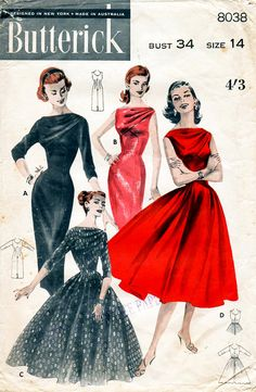 1950s Evening Dress with Draped Neckline Vintage Sewing Pattern - Butterick 8038 Bust 34