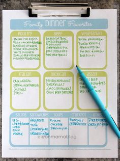 Simplify your meal planning with this family dinner favorites FREE printable from Clean Mama. Great way to organize your meal planning.