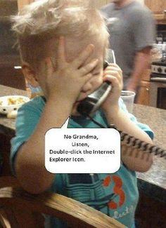 Child Grandma Internet Explorer Computer Support | Funny Joke Pictures