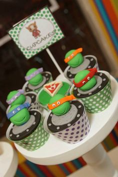 TMNT Ninja Turtles themed birthday party via Kara's Party Ideas : SUPER AWESOME cupcakes