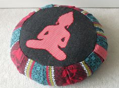 Eco-friendly meditation cushion / zafu / pouf (COVER ONLY) red, teal and black print, made with recycled fabric