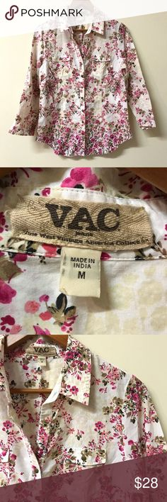 Nine West VAC Floral Button Up V.A.C. (Nine West Vintage America Collection) cotton floral button front shirt. Excellent pre-owned condition. Please note: this shirt has a raw hem on the bottom - that's how it was made. Nine West Tops Button Down Shirts