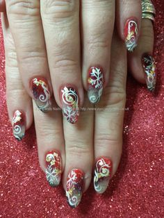 Freehand christmas nail art