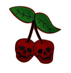 - Skull Cherries Applique Iron On Patch - Cotton / Nylon - Well made, greatly embroidered and neatly stitched. - Just iron on any fabric you like - Turn your ordinary clothes or bags into something th