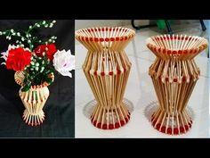 DIY How To Make Flower Vase / popsicle stick crafts / flower vase diy / flower pot / کاردستی Popsicle Stick Crafts, Popsicle Sticks, Craft Stick Crafts, Paper Flower Centerpieces, Flower Vases, Twine Crafts, Diy Crafts, Flower Crafts, Diy Flowers