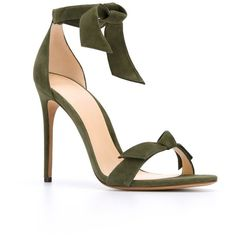 Alexandre Birman Clarita Sandals (1,170 ILS) ❤ liked on Polyvore featuring shoes, sandals, leather footwear, green sandals, green shoes, alexandre birman sandals and real leather shoes